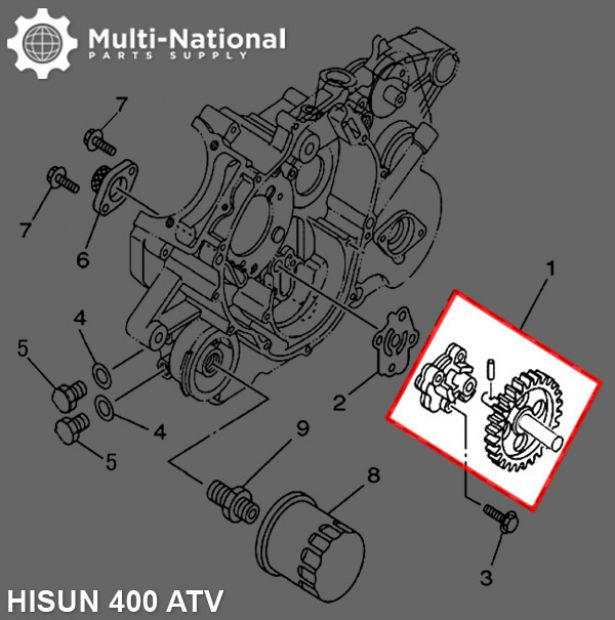 Oil Pump - Hisun, 400cc, ATV/UTV