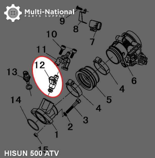 Fuel Injector - ATV, Hisun, 500cc
