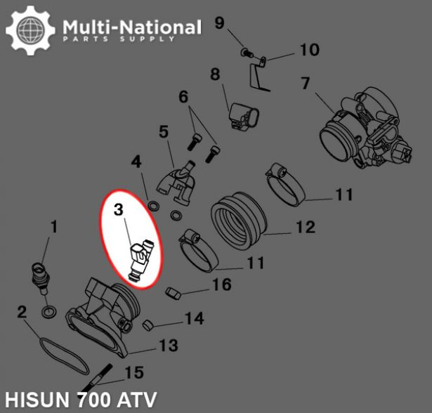 Fuel Injector - ATV, Hisun, 700cc