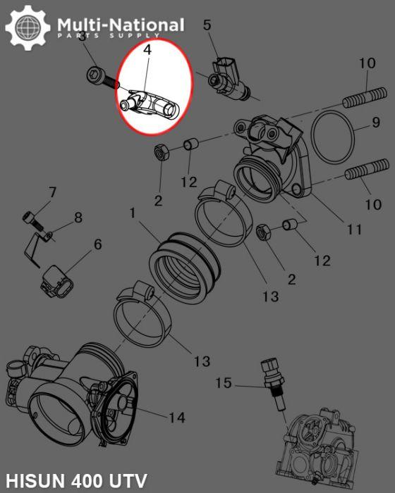 Fuel Injector Mounting Seat - ATV/UTV, Hisun, 400-800cc