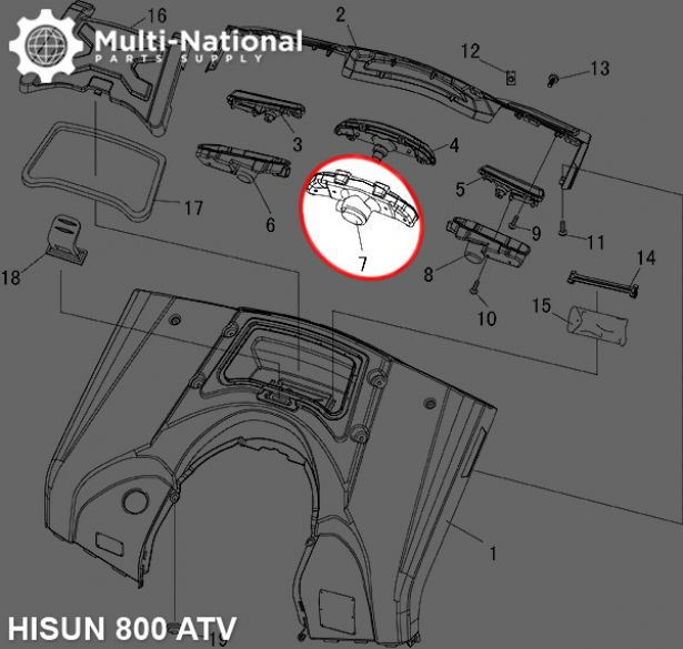 Tail Light Housing - ATV, Hisun, 800cc