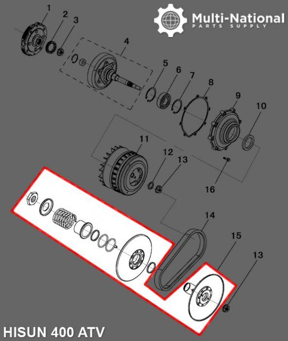 Clutch - CVT, Driver Pulley, Hisun, 400cc, ATV/UTV