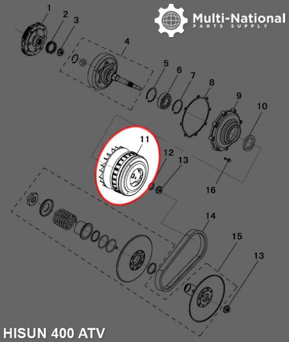 Clutch - Variator, 21 Spline, Hisun, 400cc, ATV/UTV