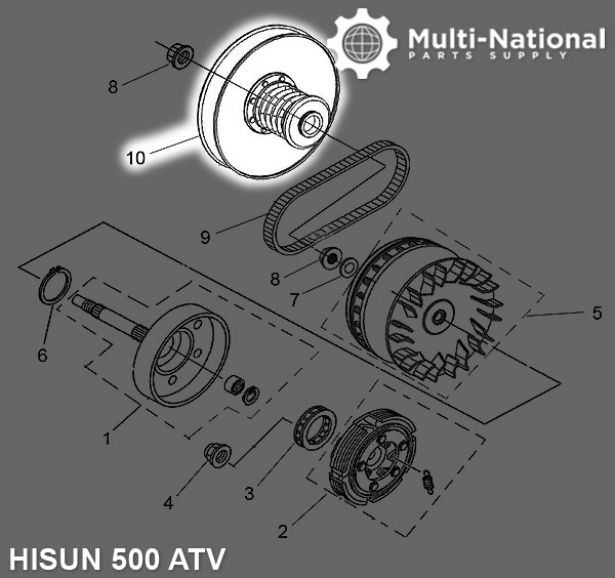 Clutch - CVT, Driver Pulley, ATV, Hisun, 500-700cc