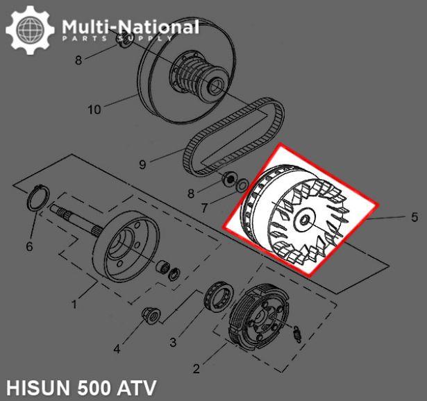 Clutch - Variator, Hisun, 500-700cc, 21 Spline