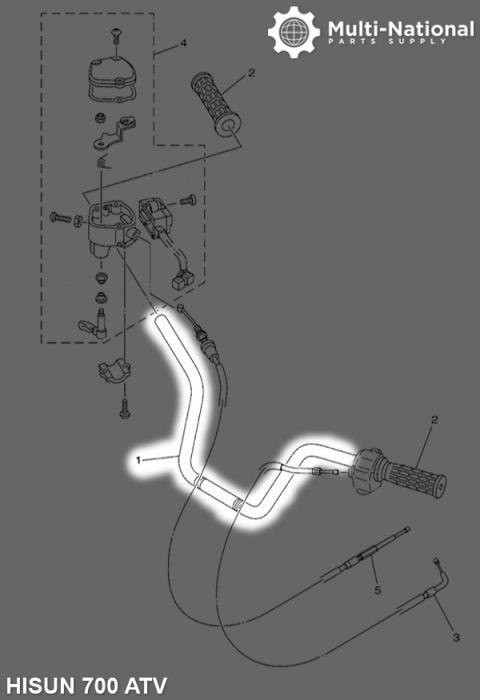 Handle Bar - ATV, Hisun, 500-700cc