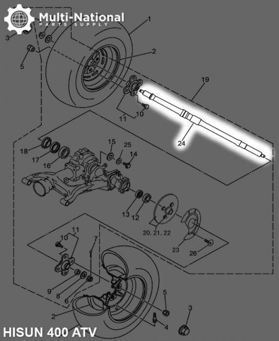 Axle - 97.5cm, ATV, Hisun, 400cc