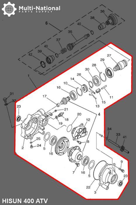 Front Differential - 400cc, Hisun, ATV