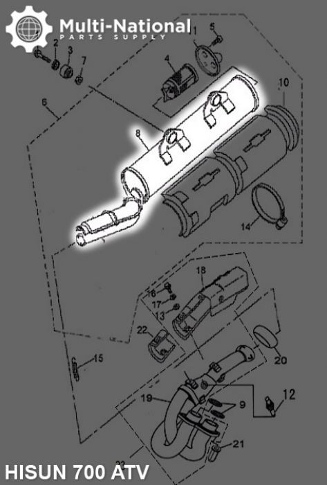 Exhaust Tube and Muffler - Exhaust Pipe and Muffler, Exhaust Manifold, ATV, Hisun, 500-700cc