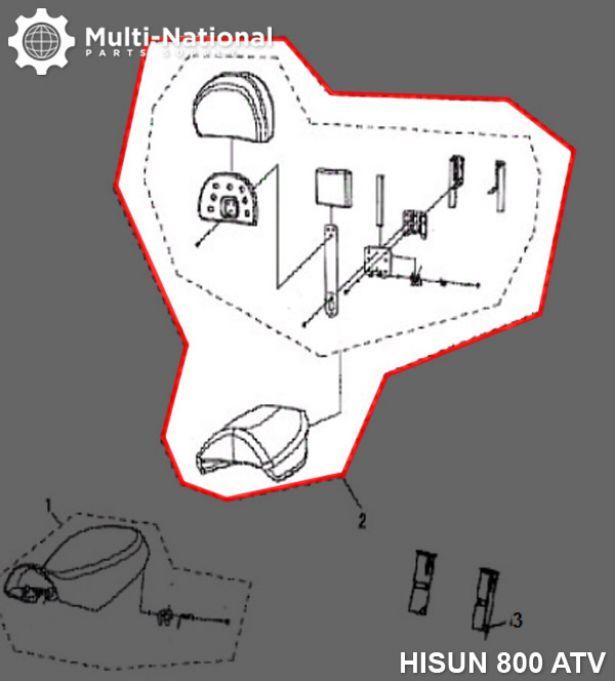 Seat - Rear, ATV, Hisun, 800cc