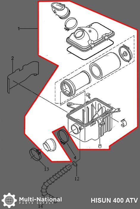 Air Filter Assembly - Air Cleaner Box, ATV, Hisun, 400cc