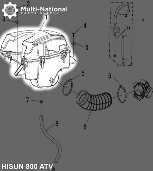 Air Filter Assembly - Air Cleaner Box, ATV, Hisun, 800cc