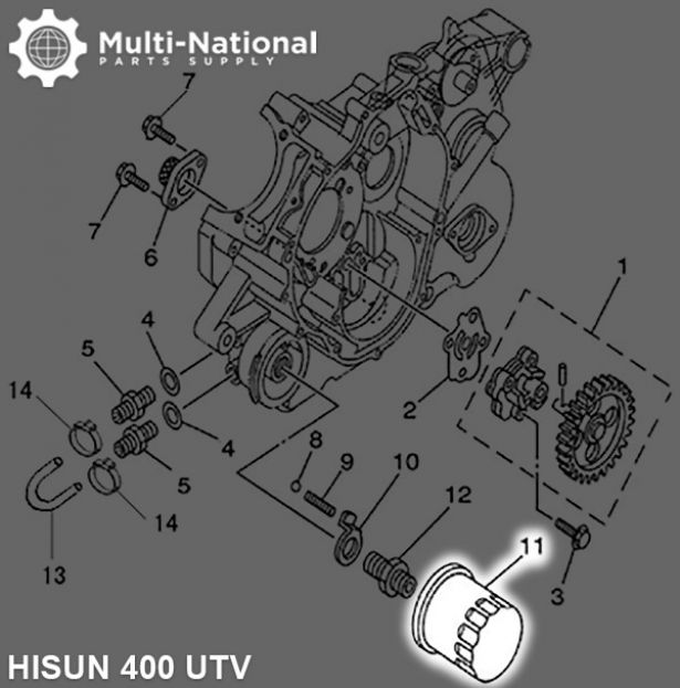 Oil Filter - Hisun, 400-700cc, ATV/UTV - Multi-National Part