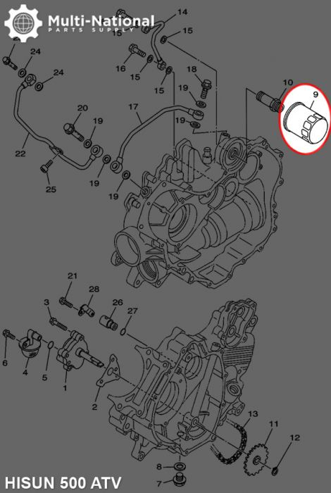 Oil Filter - Hisun, 400-700cc, ATV/UTV - Multi-National Part