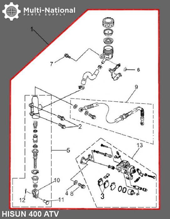 Foot/Rear Brake Lever and Caliper Assembly - ATV, Hisun, 400cc