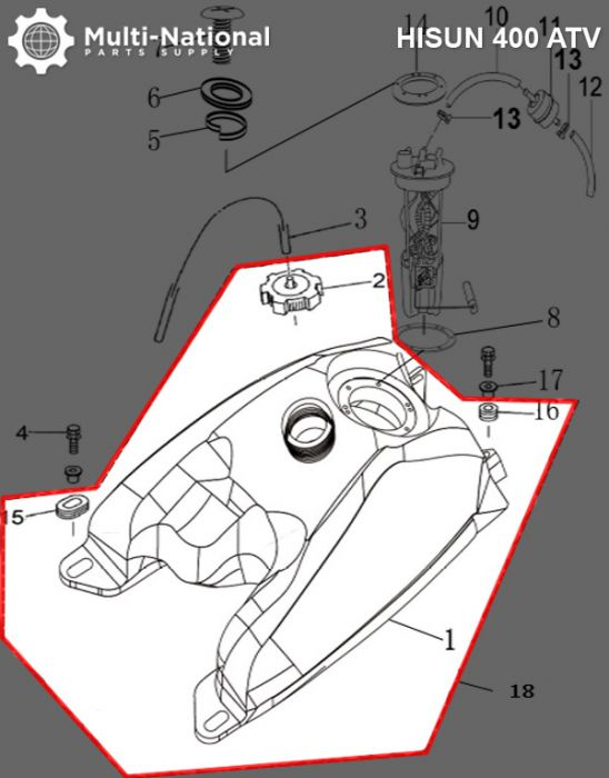 Gas Tank - ATV, Hisun, 400cc