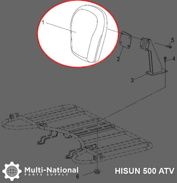 Back Rest - ATV, Hisun, 500-700cc