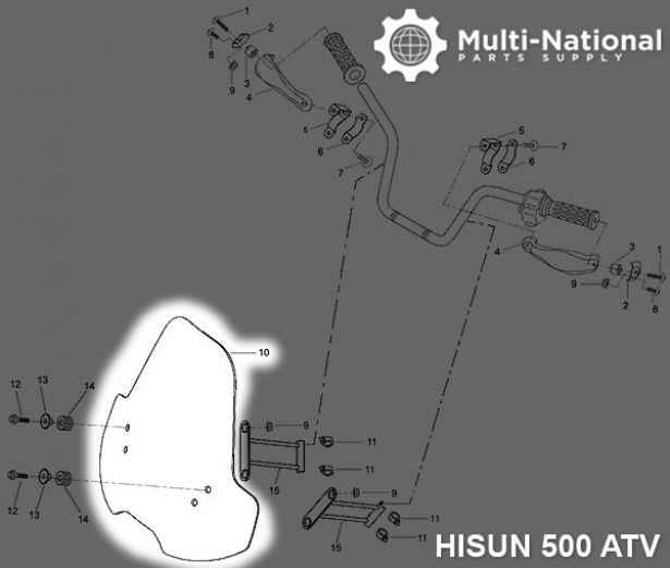 ATV Windshield - Hisun, 500-700cc