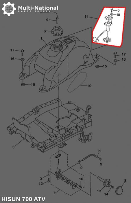 Fuel Sensor - ATV, Hisun, 500-700cc