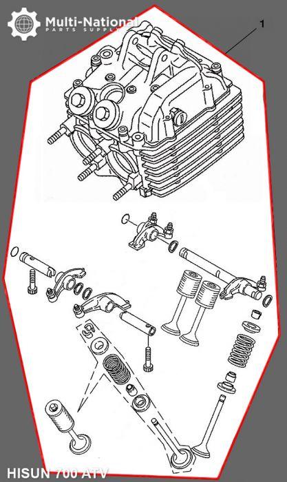 Cylinder Head Assembly - ATV, Hisun, 700cc