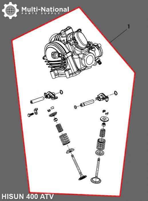 Cylinder Head Assembly - ATV, Hisun, 400cc