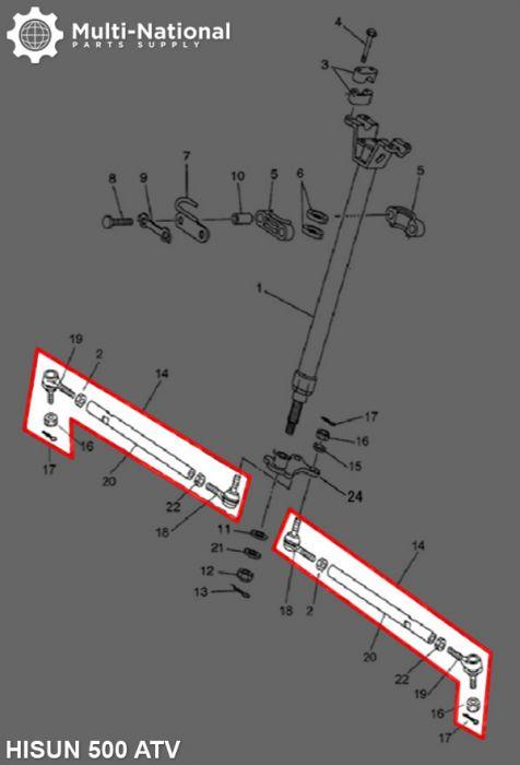 Tie Rod - ATV, Hisun, 500-700cc