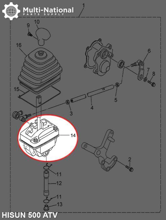 Gearshift Body Assy - ATV, Hisun, 500-700cc