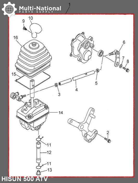 Gearshift Shifter Assembly - ATV, Hisun, 500-700cc