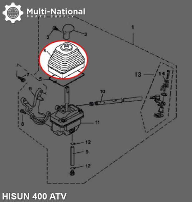Gear Shift Boot - ATV, Hisun, 400-500cc