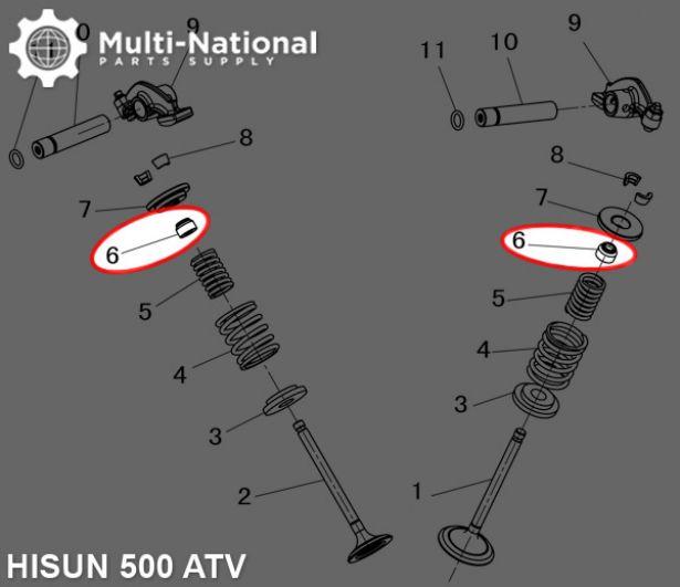 Valve Stem Seal - Hisun, 400-500cc, ATV/UTV