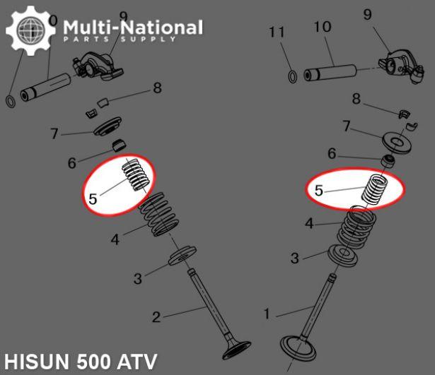 Valve Spring - Inner, ATV/UTV, Hisun, 400-500cc