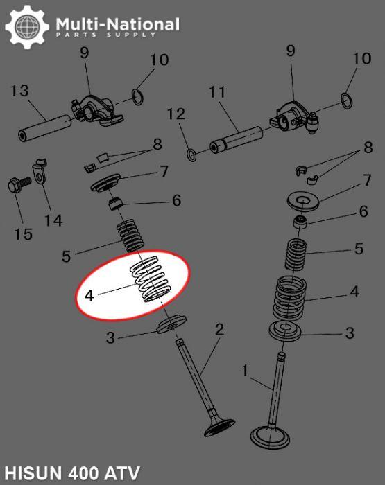 Valve Spring - Outer, Hisun, 400-500cc, ATV/UTV