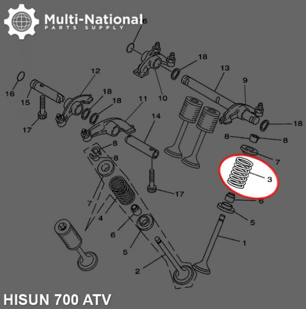 Valve Spring - Intake, ATV, Hisun, 700cc