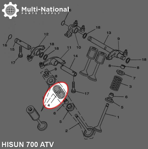 Valve Spring - Exhaust, ATV, Hisun, 700cc