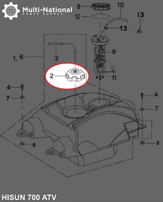 Fuel Tank Cap - ATV, Hisun, 500-800cc