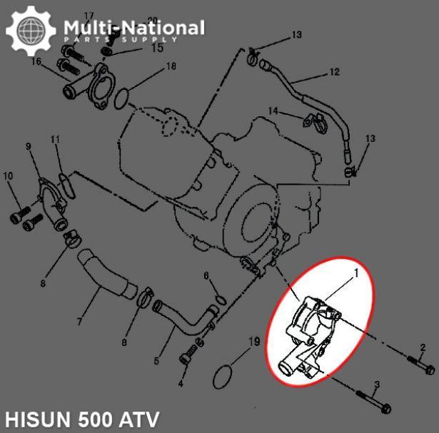 Water Pump - ATV, Hisun, 500-700cc