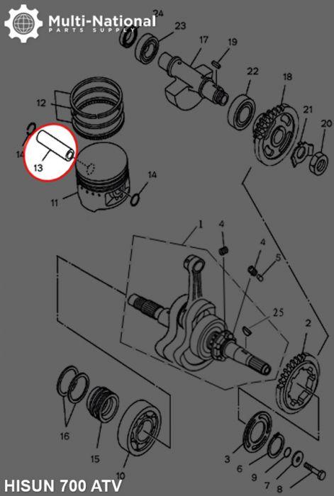 Wrist Pin - ATV, Hisun, 700cc