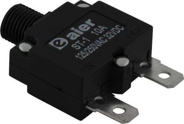 Circuit Breaker - Push Button, 10A, ST-1, 125/250VAC, 32VDC