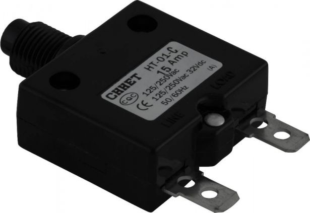 Circuit Breaker - Push Button, 15A, HT-01C, 125/250VAC, 32/50VDC