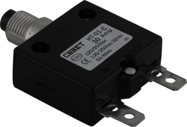 Circuit Breaker - Push Button, 30A, HT-01C, 125/250VAC, 32/50VDC