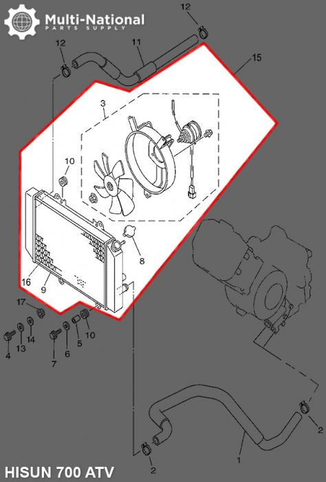 Radiator - Hisun, 500-700cc, ATV