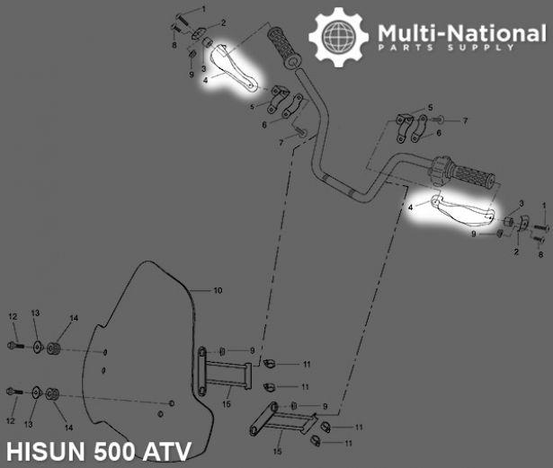 Hand Guard - ATV, Hisun, 500-700cc (1pc)
