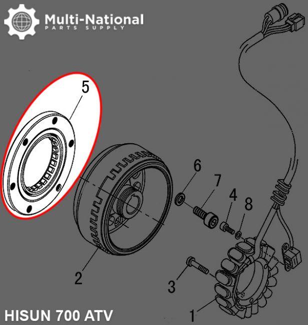 Starter Clutch - Overrunning Starter Bypass, 500-700cc, Hisun, ATV