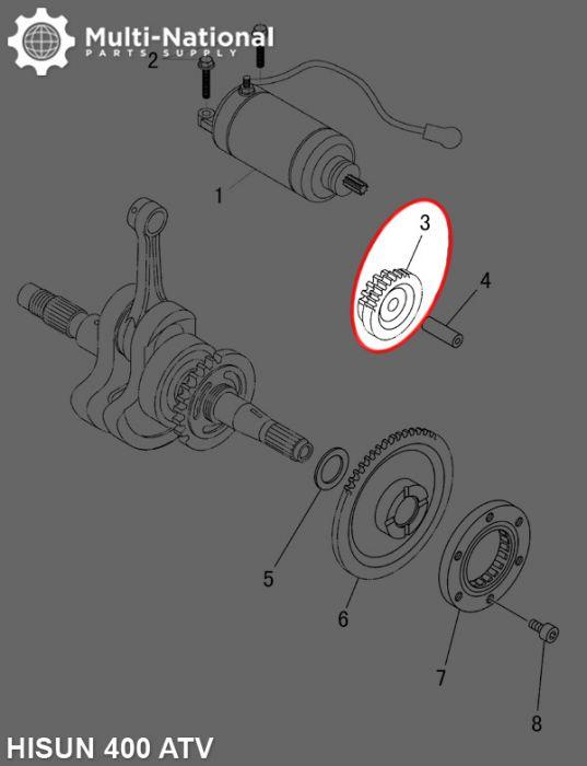 Starter Gear - Double Gear, 58T/19T, Hisun, 400cc, ATV/UTV