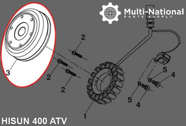 Magneto Cylinder - 400cc, Hisun, ATV