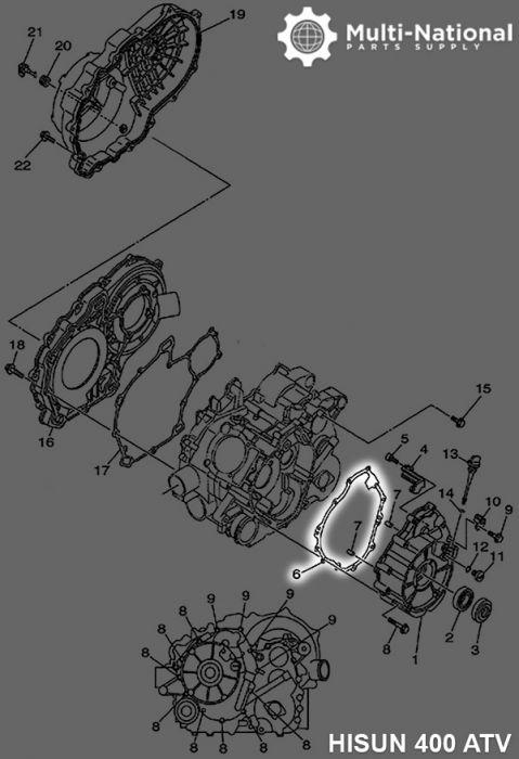 Crankcase Gasket - ATV, Hisun, 400cc