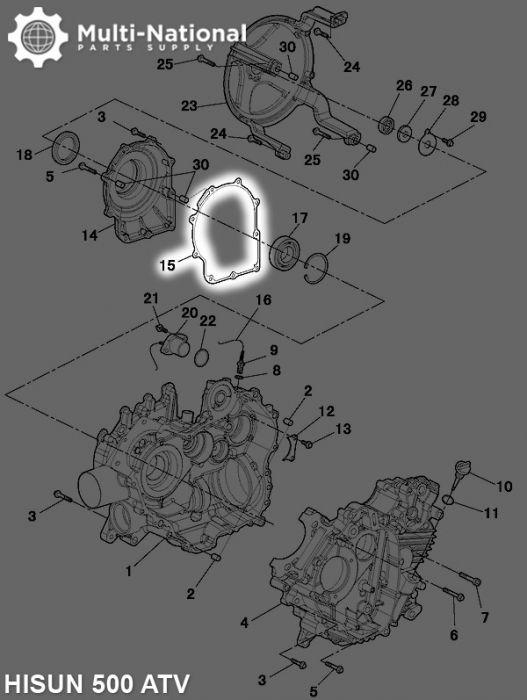 Bearing Seat Gasket - ATV, Hisun, 500-700cc