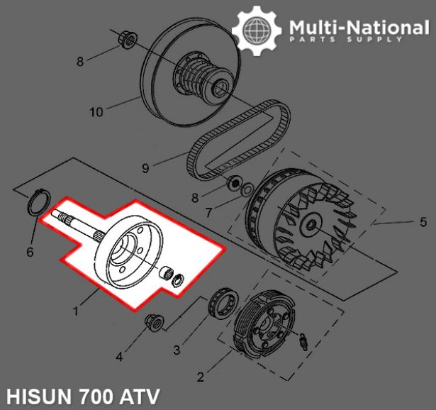 Clutch - Cover, ATV, Hisun, 500-700cc