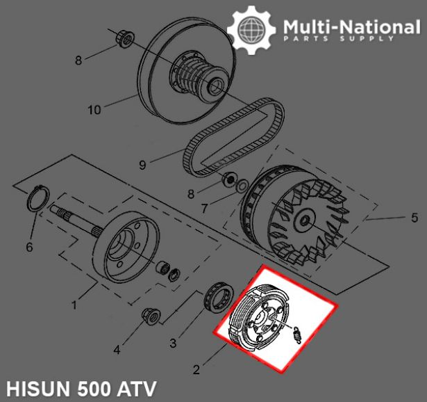 Clutch - Clutch Shoe, ATV, Hisun, 500-700cc