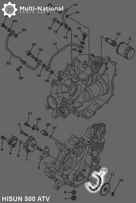 Chain - Oil Pump, 500-700cc, Hisun, ATV, 04CH-70